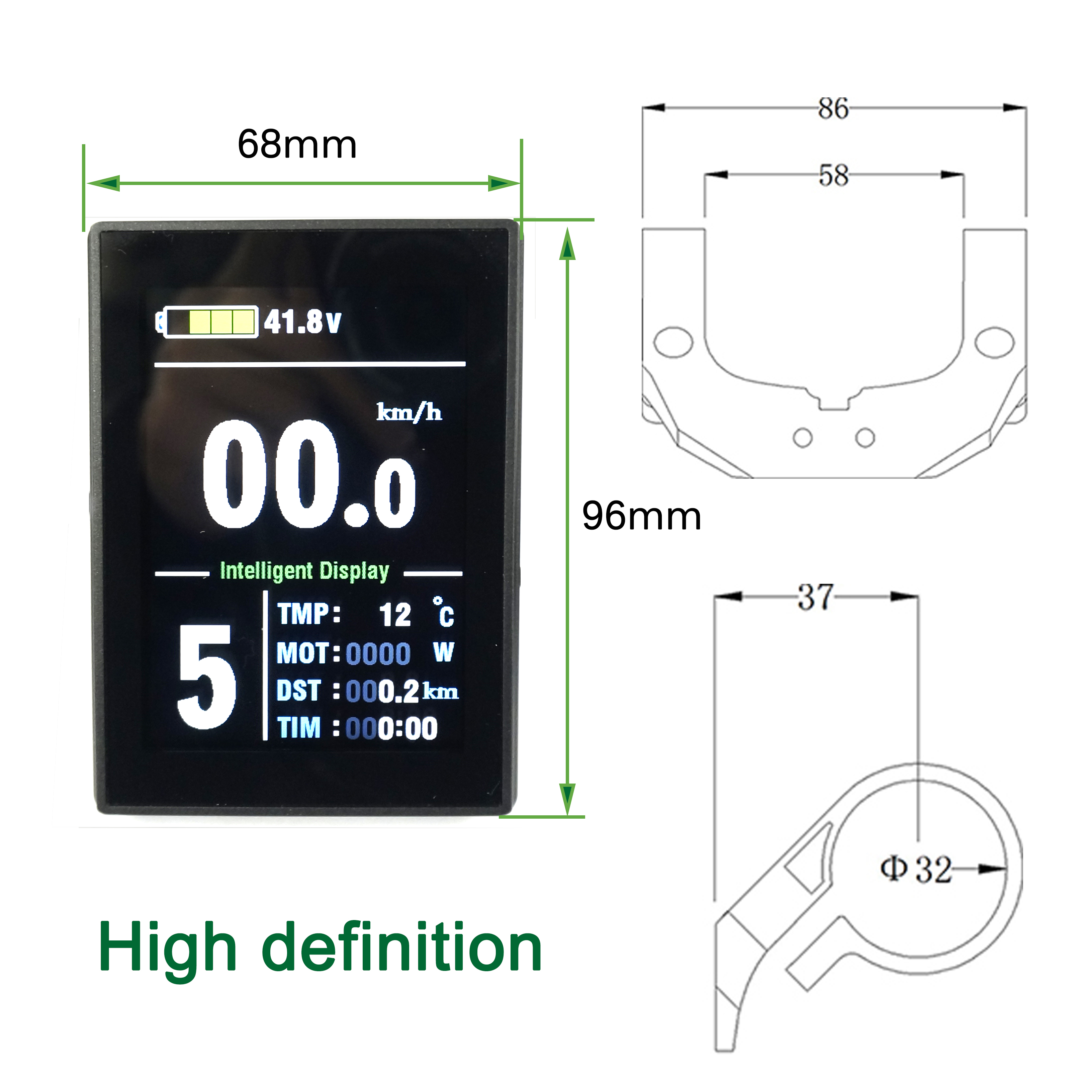 Greenpedel 24v 36v 48v New KT-LCD8S Colorful LCD Display for Electric Bicycle